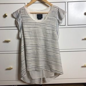 0'2nd Barney's New York Ivory Striped Blouse Top